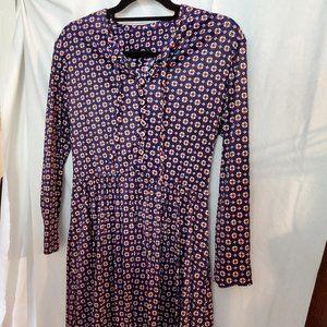 Vintage fit & flare dress, blue/red pattern sz1x